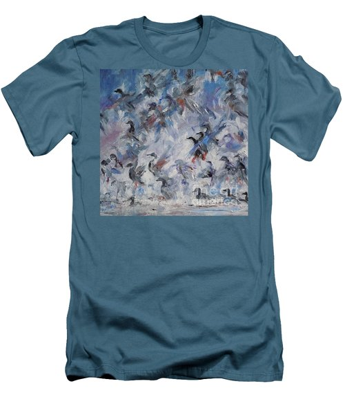 Men's T-Shirt (Slim Fit) featuring the painting Shots Fired by Ellen Anthony