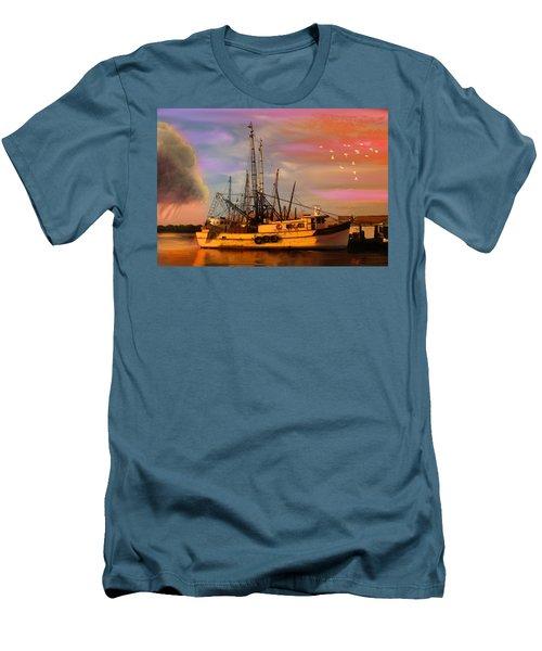 Shrimpers At Dock Men's T-Shirt (Slim Fit) by J Griff Griffin