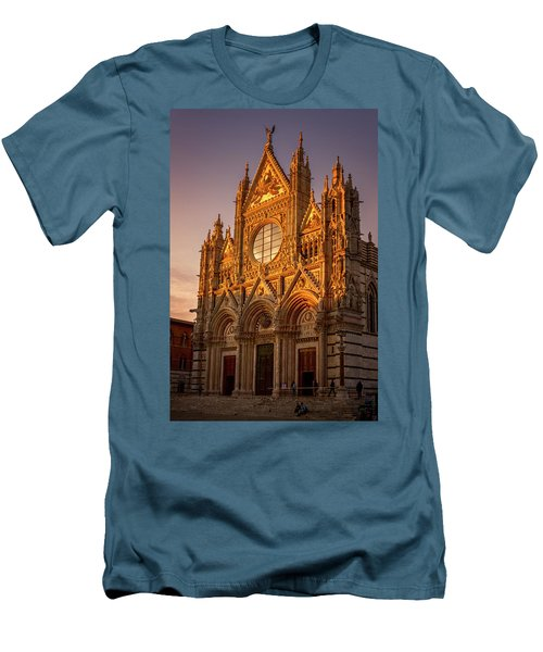Men's T-Shirt (Slim Fit) featuring the photograph Siena Italy Cathedral Sunset by Joan Carroll