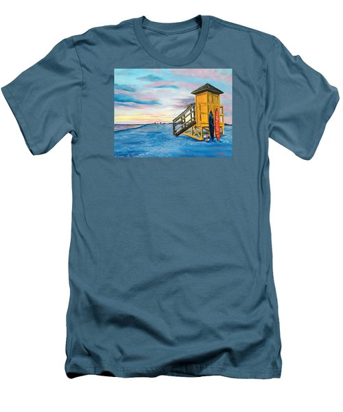 Siesta Key Life Guard Shack At Sunset Men's T-Shirt (Athletic Fit)