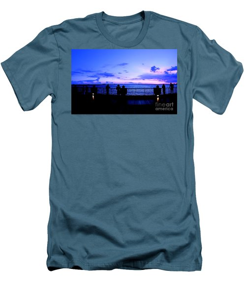 Men's T-Shirt (Slim Fit) featuring the photograph Silhouette Of People At Sunset by Yali Shi