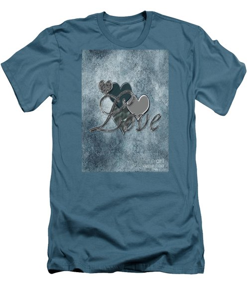 Silver Love Men's T-Shirt (Slim Fit) by Linda Prewer