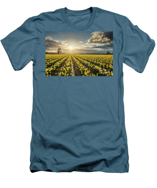 Men's T-Shirt (Slim Fit) featuring the photograph Skagit Daffodils Bright Sunstar Dusk by Mike Reid