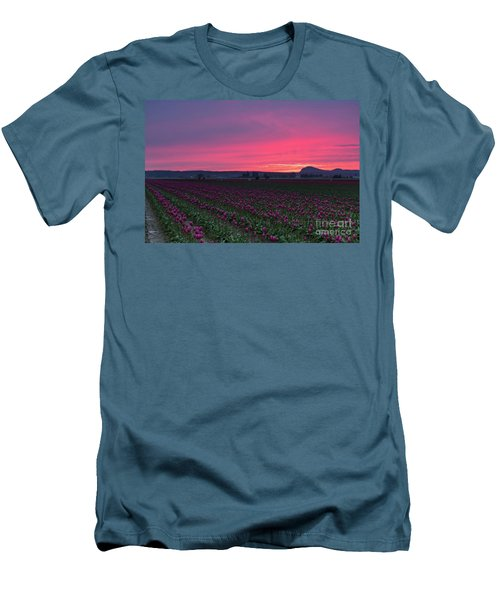Men's T-Shirt (Slim Fit) featuring the photograph Skagit Valley Burning Skies by Mike Reid
