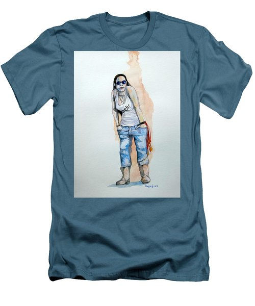 Men's T-Shirt (Slim Fit) featuring the painting Sketch For Meh by Ray Agius