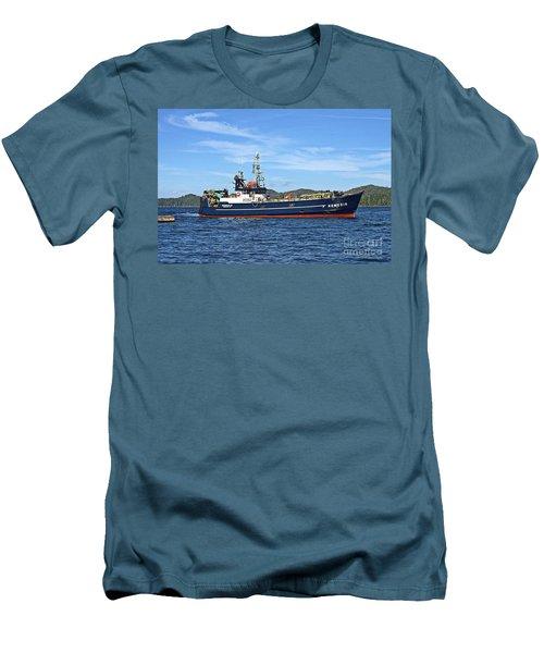 Skipper Kris At The Wheel Men's T-Shirt (Athletic Fit)