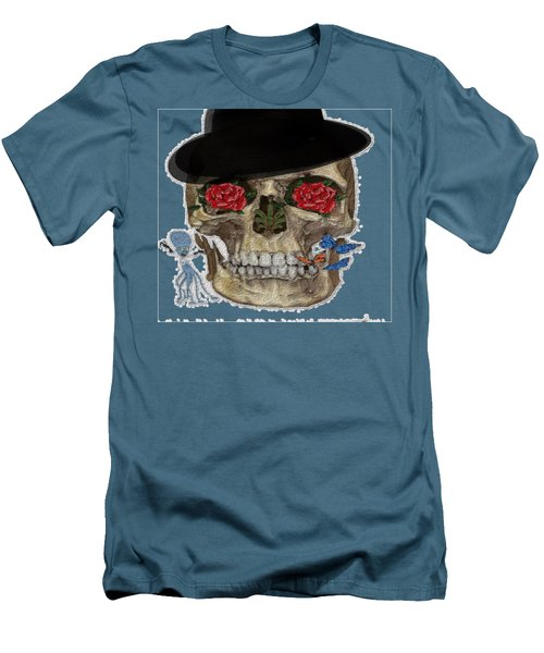 Skull In A Hat With Roses Men's T-Shirt (Athletic Fit)