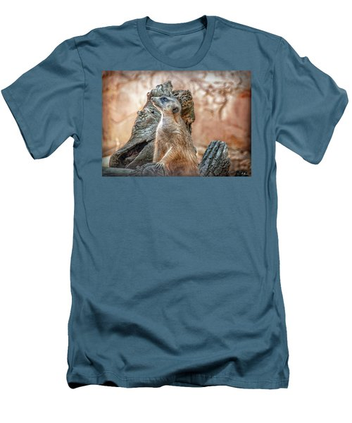 Men's T-Shirt (Athletic Fit) featuring the photograph Slender-tailed Meerkat by Hanny Heim
