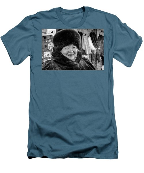 Men's T-Shirt (Athletic Fit) featuring the photograph Smiling Woman With Squinting Eyes by John Williams