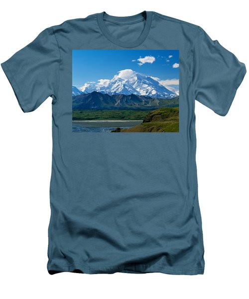 Snow-covered Mount Mckinley, Blue Sky Men's T-Shirt (Athletic Fit)
