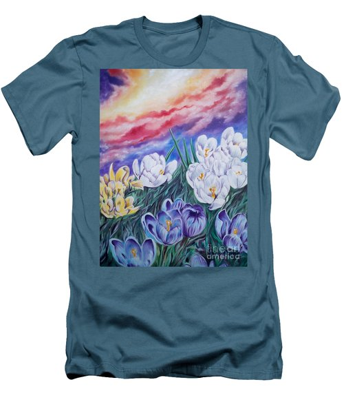 Men's T-Shirt (Slim Fit) featuring the painting Snow Crocus by Sigrid Tune