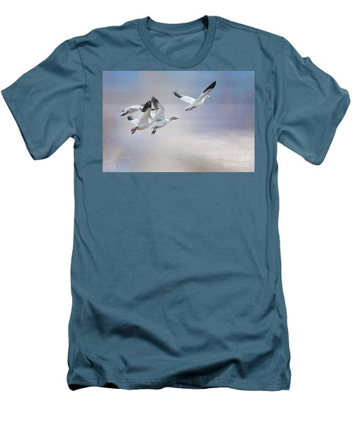Men's T-Shirt (Slim Fit) featuring the photograph Snow Geese In Flight by Bonnie Barry