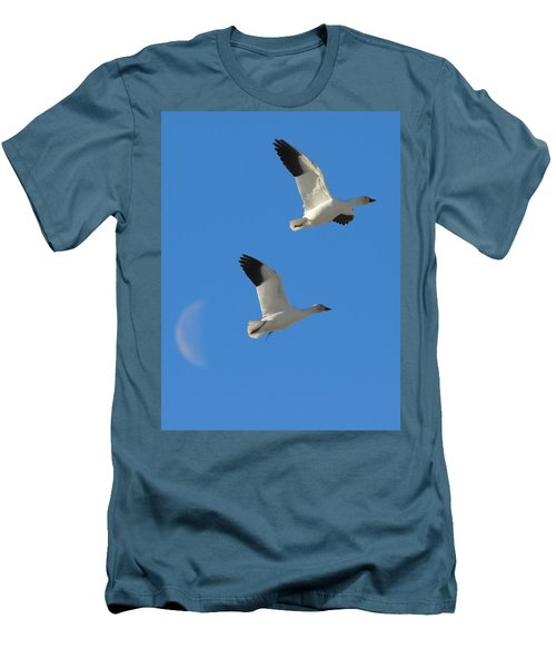 Snow Geese Moon Men's T-Shirt (Athletic Fit)