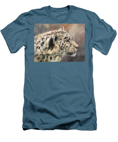 Men's T-Shirt (Slim Fit) featuring the painting Snow Leopard Study by David Stribbling