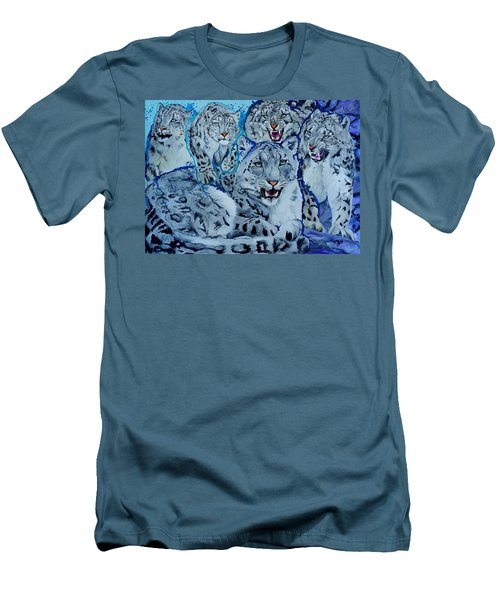 Snow Leopards Men's T-Shirt (Slim Fit) by Raymond Perez