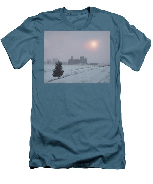 Men's T-Shirt (Slim Fit) featuring the photograph Snow Muted Sunset by Judy Johnson