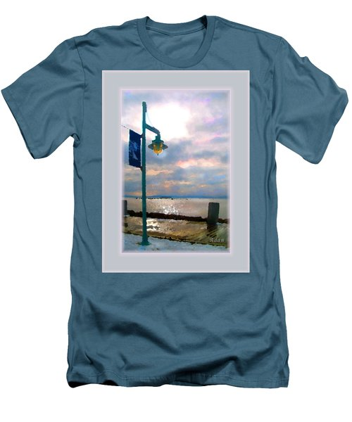 Snow Waterfront Park Walk Men's T-Shirt (Slim Fit) by Felipe Adan Lerma