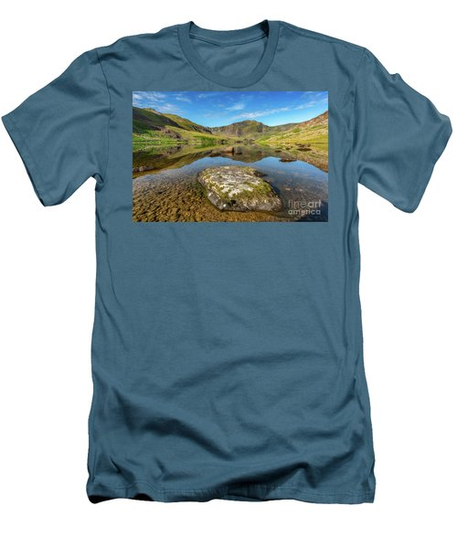 Men's T-Shirt (Slim Fit) featuring the photograph Snowdonia Mountain Reflections by Adrian Evans