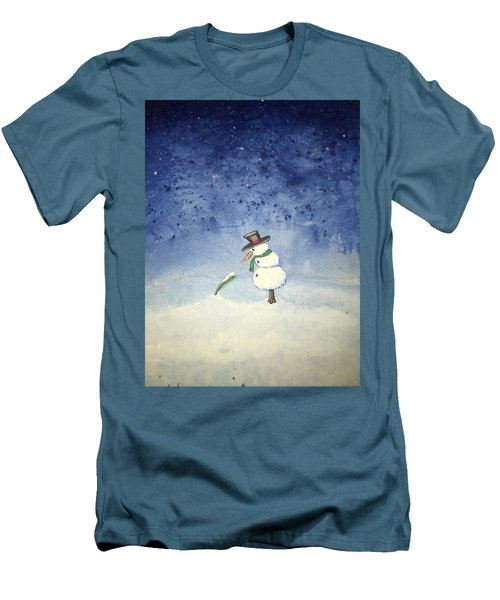 Men's T-Shirt (Slim Fit) featuring the painting Snowfall by Antonio Romero
