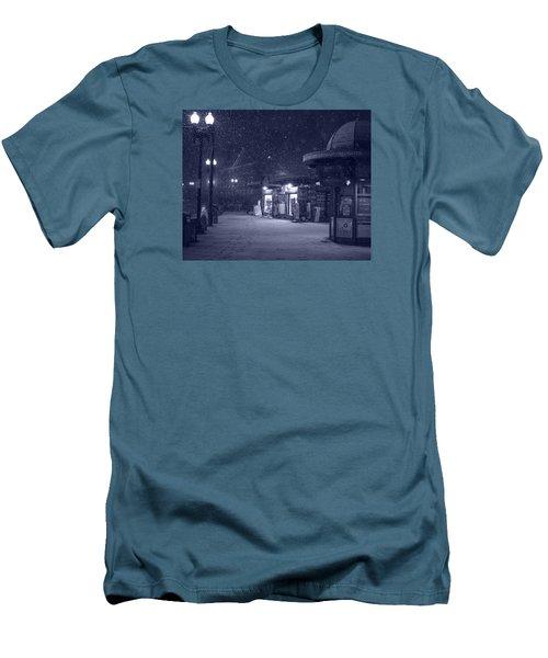 Snowfall In Harvard Square Cambridge Ma Kiosk Monochrome Blue Men's T-Shirt (Athletic Fit)
