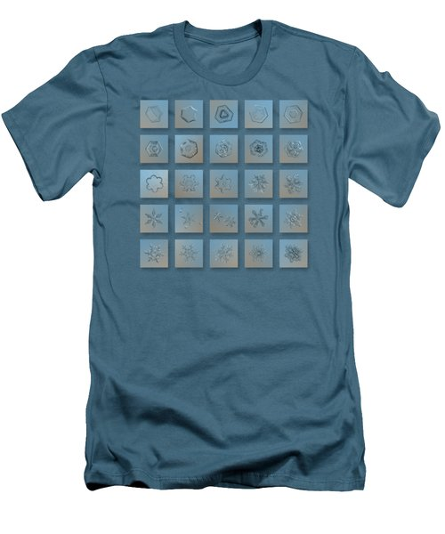Men's T-Shirt (Slim Fit) featuring the photograph Snowflake Collage - Season 2013 Bright Crystals by Alexey Kljatov