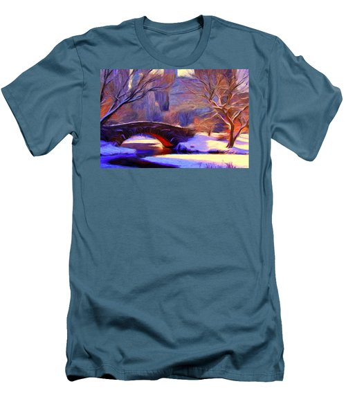 Snowy Central Park Men's T-Shirt (Slim Fit) by Caito Junqueira