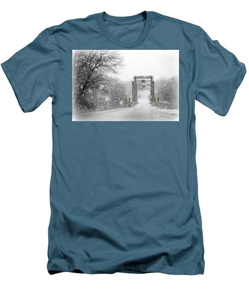Snowy Day And One Lane Bridge Men's T-Shirt (Slim Fit) by Kathy M Krause
