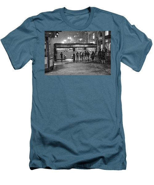 Snowy Harvard Square Night- Harvard T Station Black And White Men's T-Shirt (Athletic Fit)