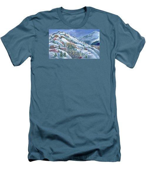 Snowy Mountain Road Men's T-Shirt (Slim Fit) by Dawn Senior-Trask
