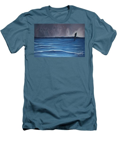 Men's T-Shirt (Slim Fit) featuring the painting Solitude by Michael  TMAD Finney