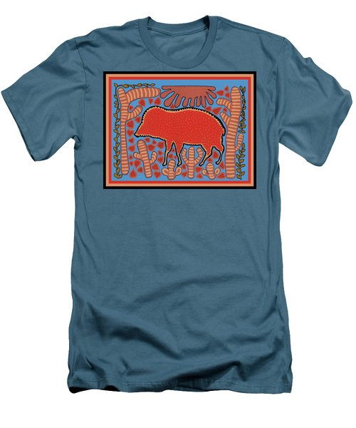 Men's T-Shirt (Athletic Fit) featuring the digital art Southwest Desert Wart Hog by Vagabond Folk Art - Virginia Vivier