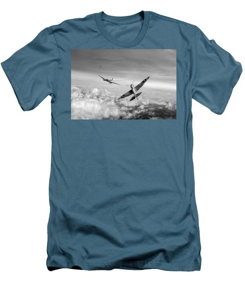 Men's T-Shirt (Slim Fit) featuring the photograph Spitfire Attacking Heinkel Bomber Black And White Version by Gary Eason