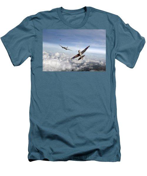 Spitfire Attacking Heinkel Bomber Men's T-Shirt (Slim Fit) by Gary Eason