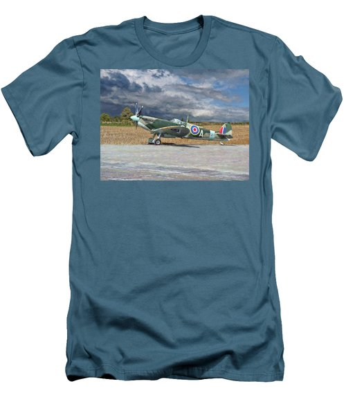 Men's T-Shirt (Slim Fit) featuring the photograph Spitfire Under Storm Clouds by Paul Gulliver