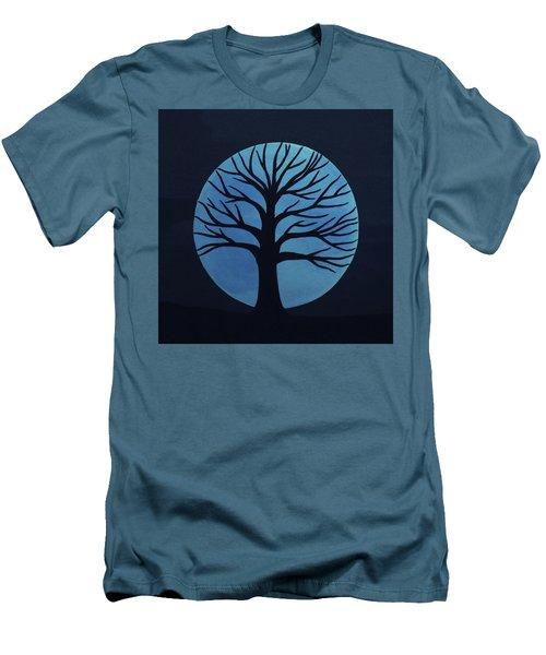 Spooky Tree Blue Men's T-Shirt (Athletic Fit)
