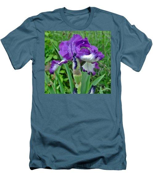 Men's T-Shirt (Slim Fit) featuring the photograph Spring Purple Iris by Marsha Heiken