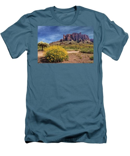 Springtime In The Superstition Mountains Men's T-Shirt (Slim Fit) by James Eddy