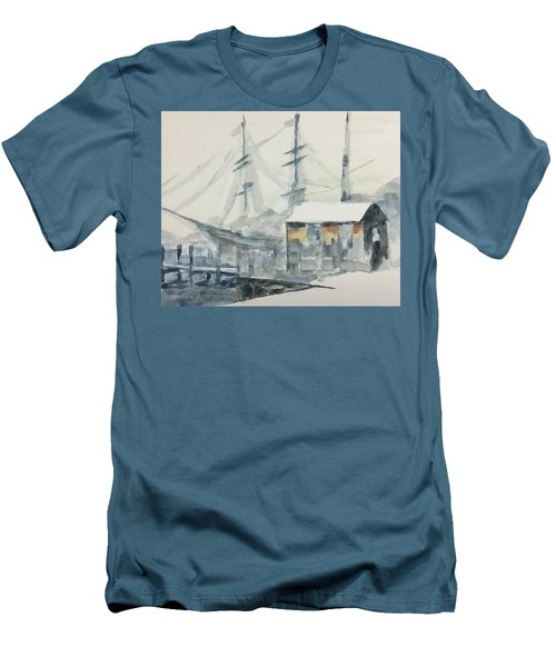 Men's T-Shirt (Slim Fit) featuring the painting Square Rigger by Stan Tenney