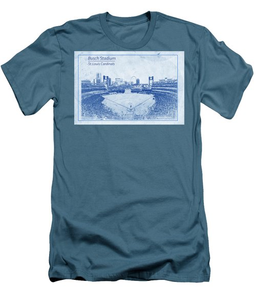 Men's T-Shirt (Slim Fit) featuring the photograph St. Louis Cardinals Busch Stadium Blueprint Words by David Haskett