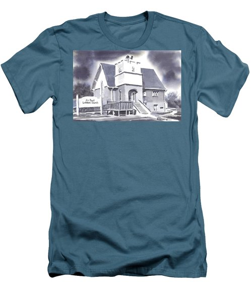 Men's T-Shirt (Slim Fit) featuring the painting St Paul Lutheran With Ink by Kip DeVore