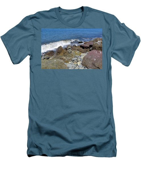 Men's T-Shirt (Athletic Fit) featuring the photograph Stacked Against The Waves by Tikvah's Hope