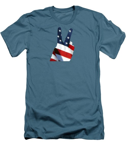 Men's T-Shirt (Slim Fit) featuring the photograph Stars And Stripes Peace Sign .png by Al Powell Photography USA