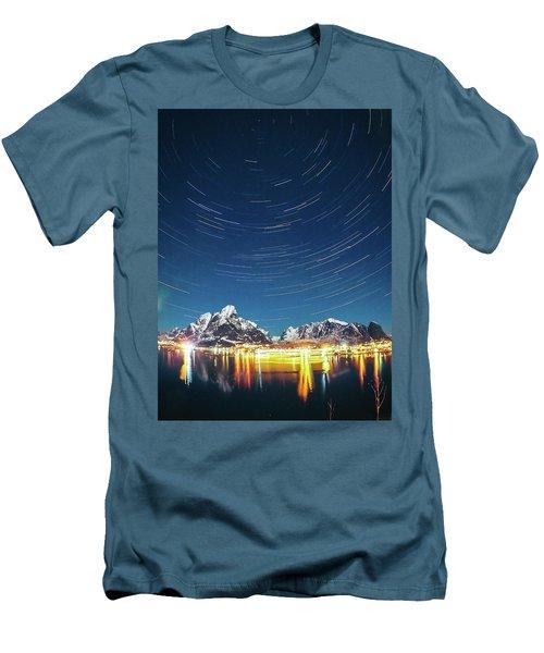 Startrails Above Reine Men's T-Shirt (Slim Fit) by Alex Conu