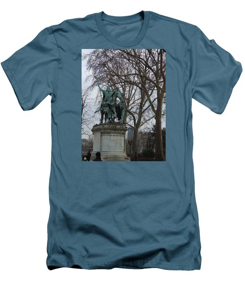 Statue At Notre Dame Men's T-Shirt (Slim Fit) by Roxy Rich