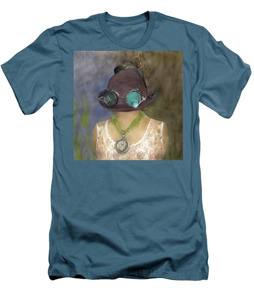 Steampunk Beauty With Hat And Goggles - Square Men's T-Shirt (Slim Fit) by Betty Denise