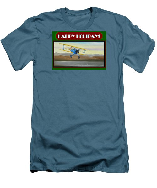 Men's T-Shirt (Slim Fit) featuring the painting Stearman Morning Flight Christmas Card by Stuart Swartz