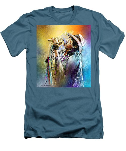 Steven Tyler 01  Aerosmith Men's T-Shirt (Slim Fit) by Miki De Goodaboom