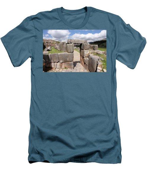 Stone Doorway At Sacsaywaman Men's T-Shirt (Slim Fit) by Aidan Moran