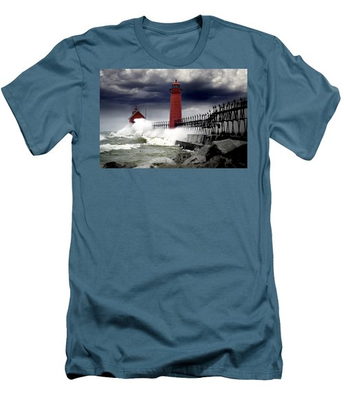 Storm At The Grand Haven Lighthouse Men's T-Shirt (Slim Fit) by Randall Nyhof