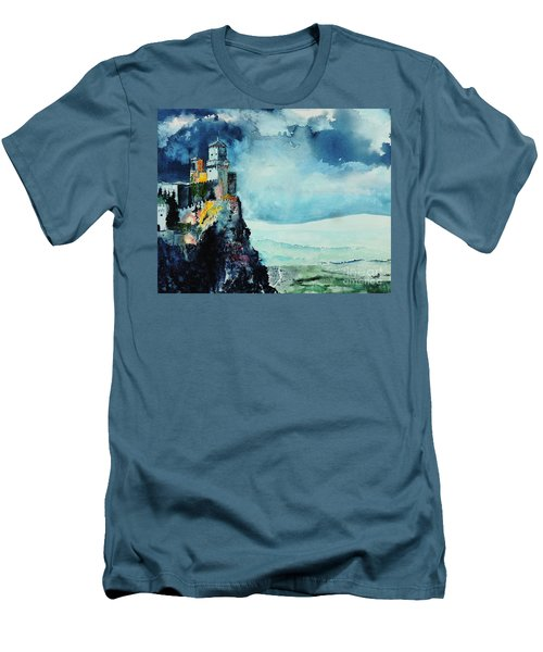 Men's T-Shirt (Slim Fit) featuring the painting Storm The Castle by Tom Riggs